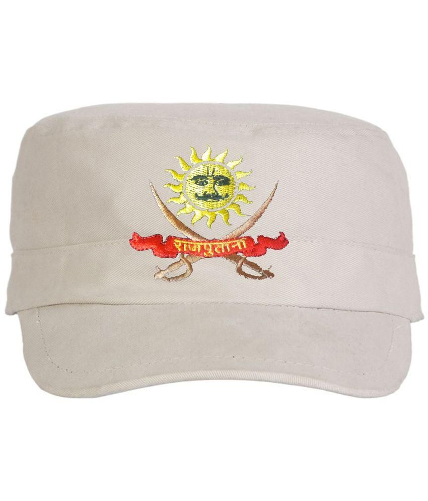 Rajputana Brothers White Cotton Cap for Men