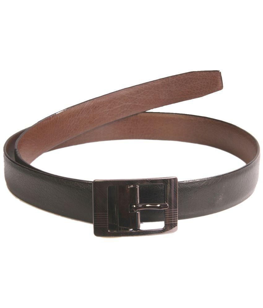 Royal Collection Black Leather Pin Buckle Belt for Men