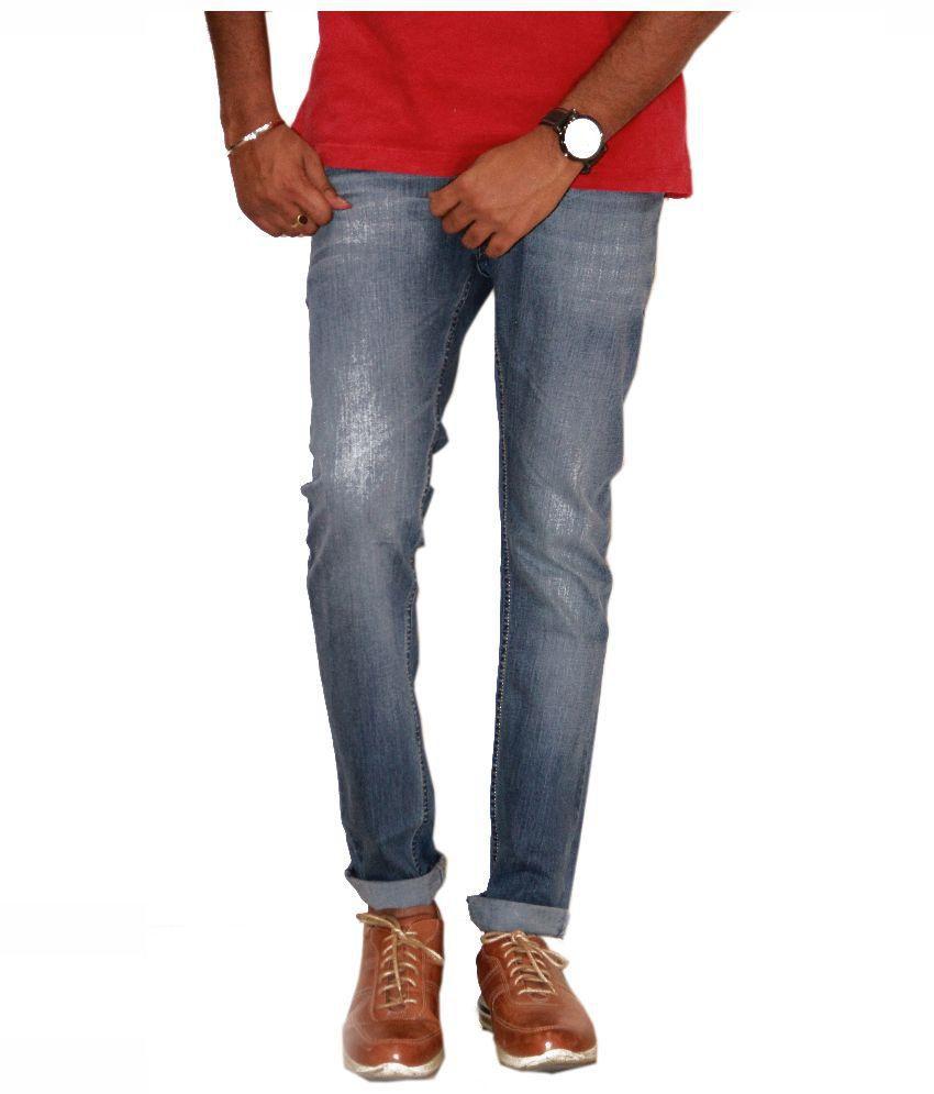 FIction Blue Regular Fit Washed Jeans