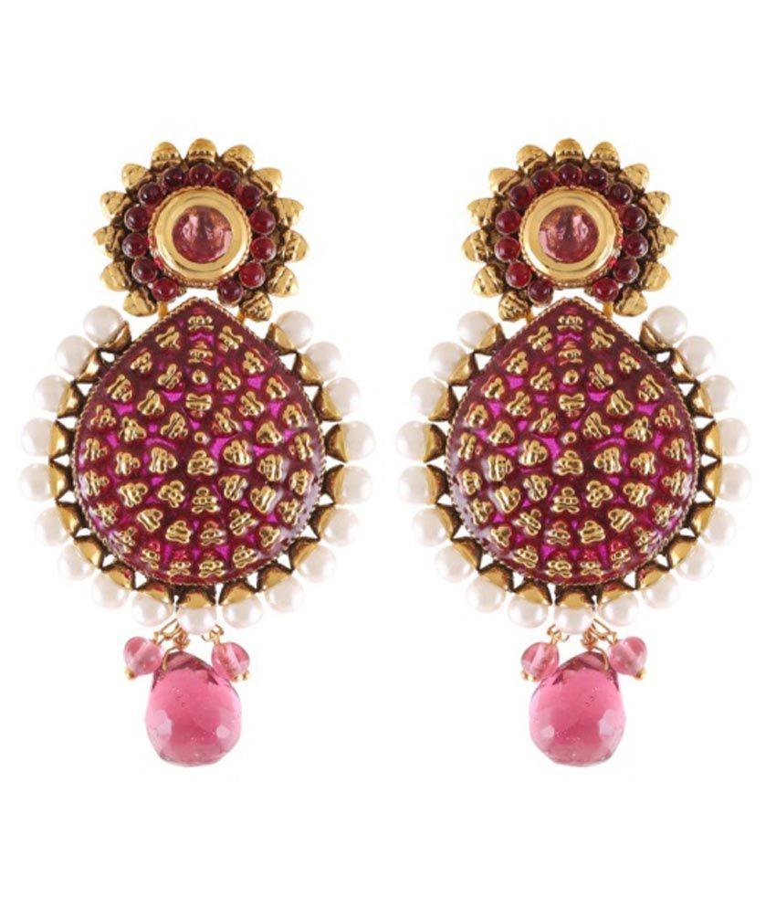 Fasherati Golden Brass Hanging Earrings
