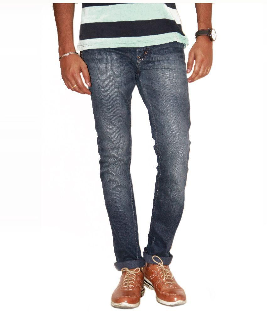 Fiction Blue Regular Fit Washed Jeans