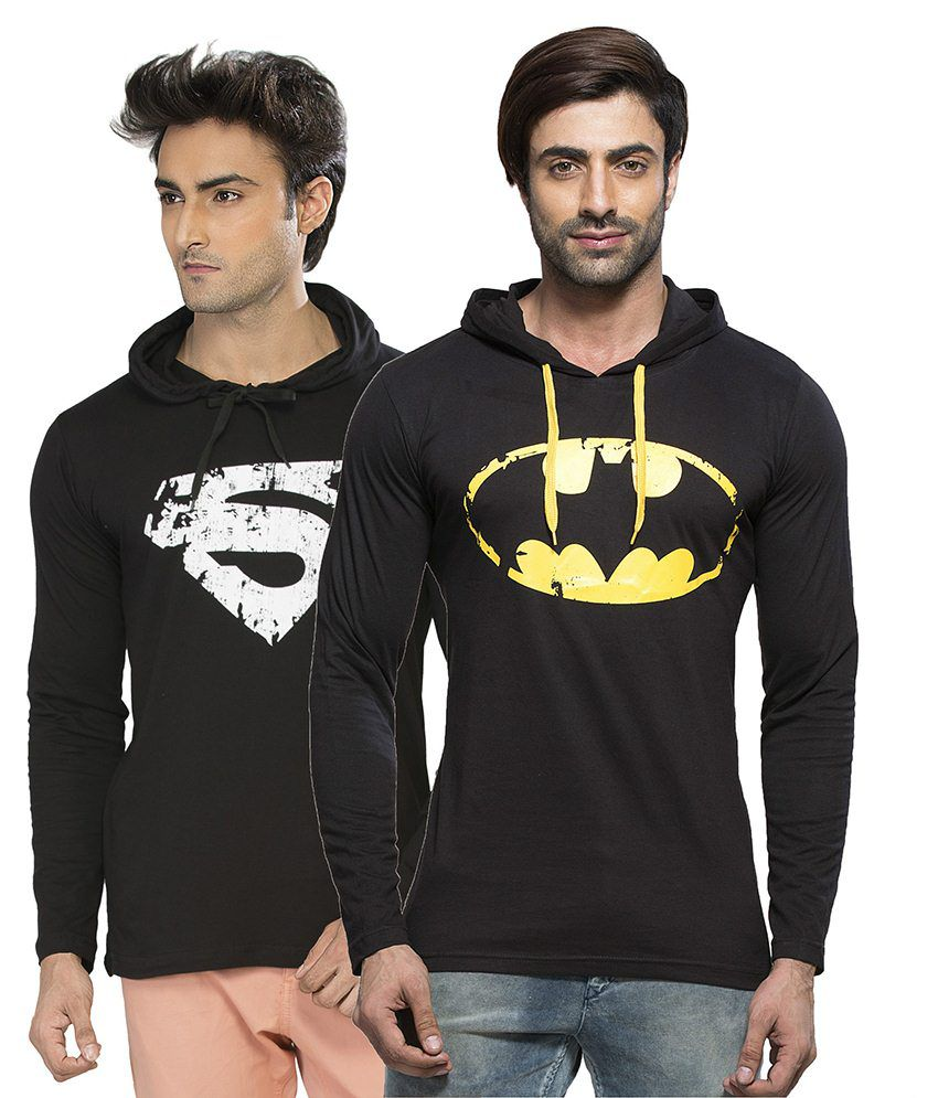 Alan Jones Clothing Black Hooded T Shirts Set Of 2