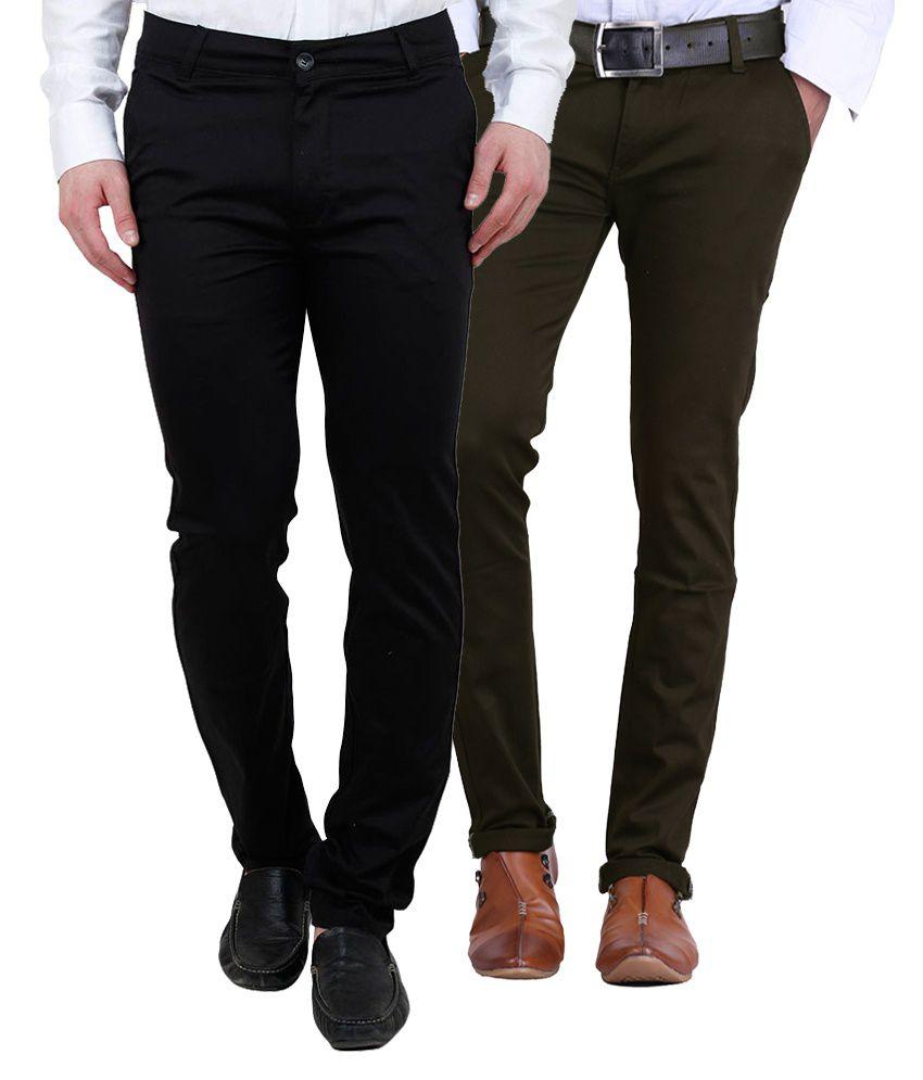 Ansh Fashion Wear Fashion Wear Multi Regular Fit Chinos Pack of 2