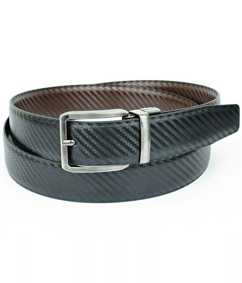 Abhinavs Black and Brown Leather Formal Belt - Pack of 2