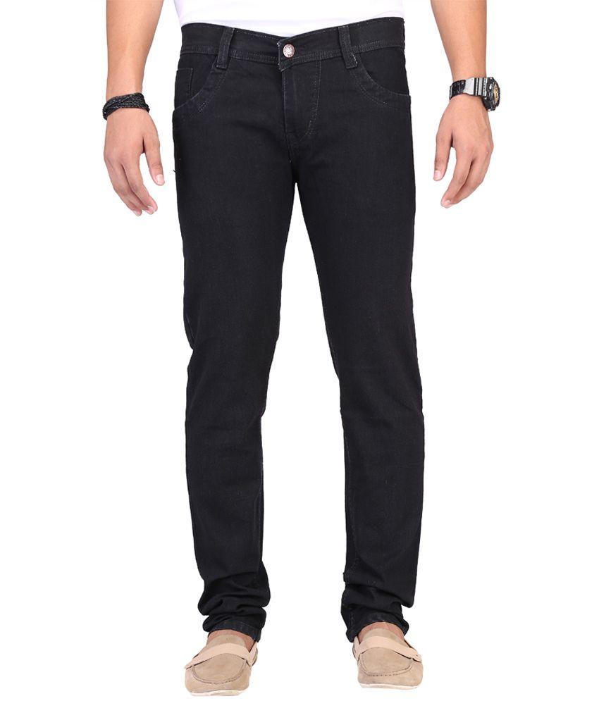 Ansh Fashion Wear Fashion Wear Black Regular Fit Mid Jeans