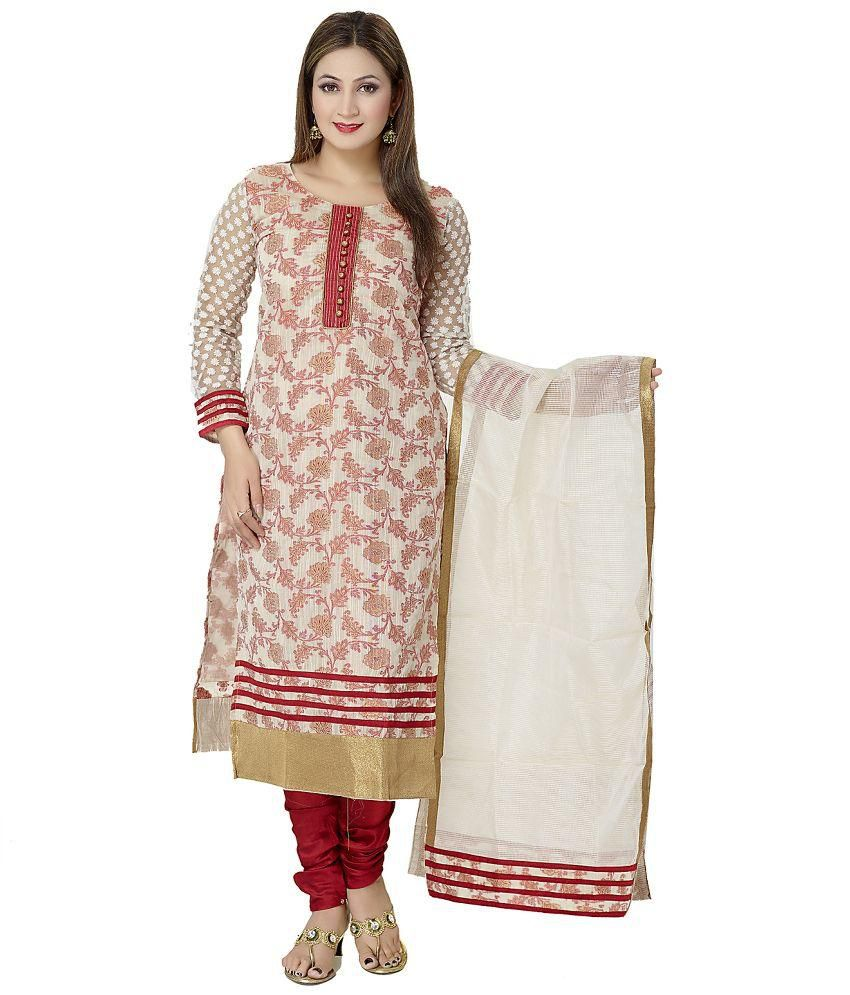 Chandan Creation Beige Brocade Straight Fit Stitched Salwar Suit