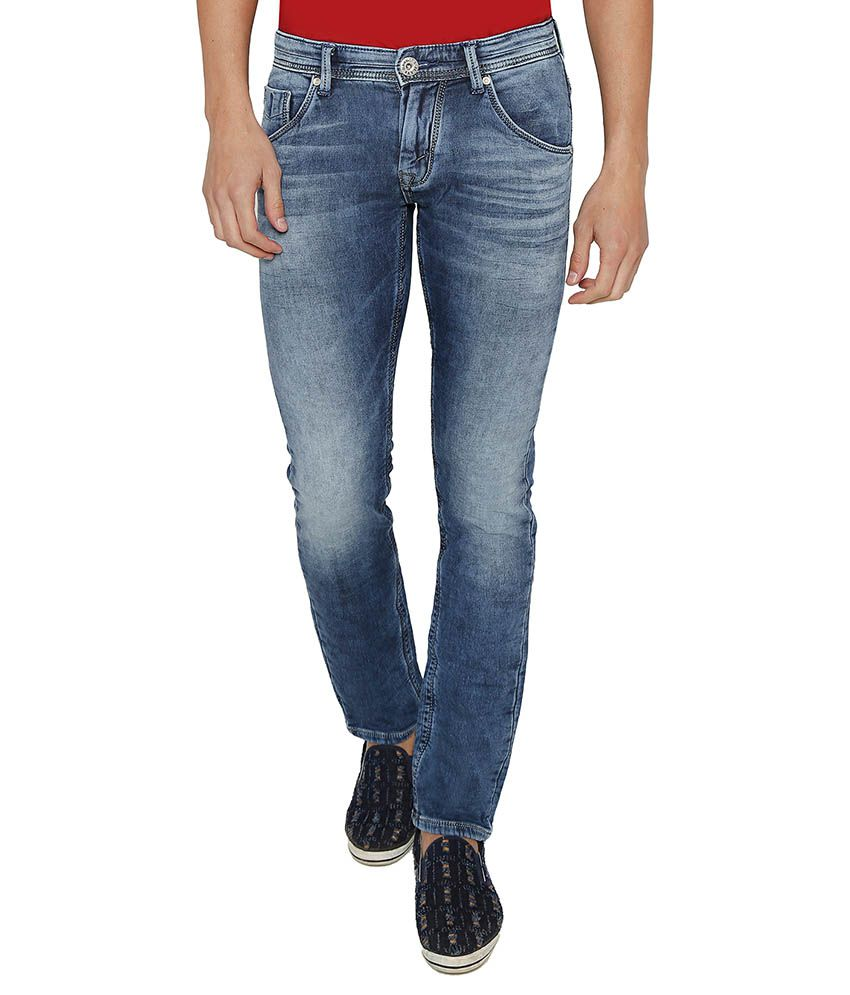 Rookies Blue Slim Fit Faded Jeans