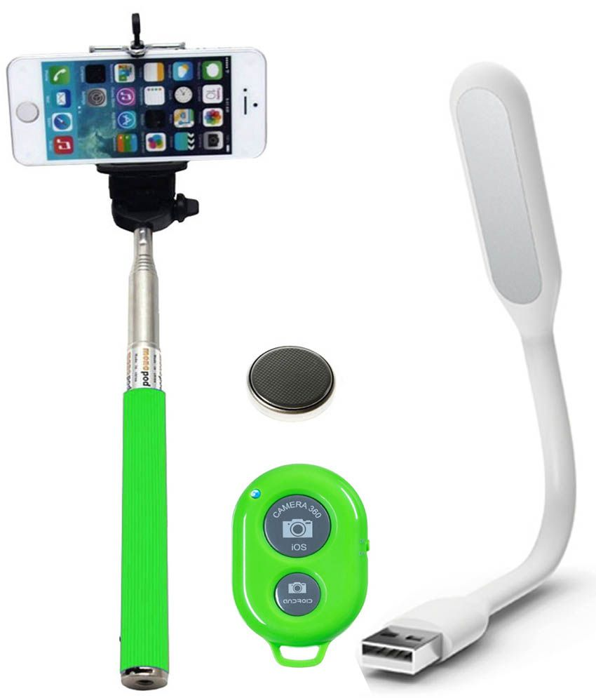 Iceberg Makers.In Iceberg Makers.In Selfie Stick With Bluetooth Remote For Smart Clicks Apple Iphone/Samsung/Android Mobiles And Usb Smart Spider LEDd Light