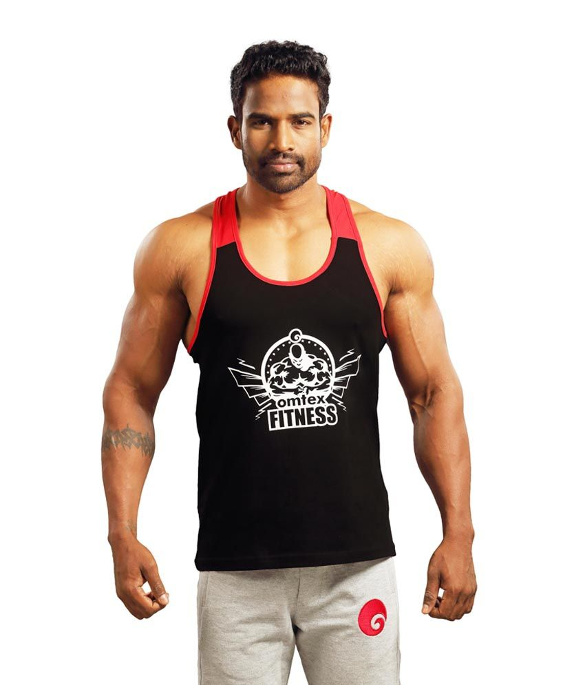 Omtex Black Cotton Gym Stringer