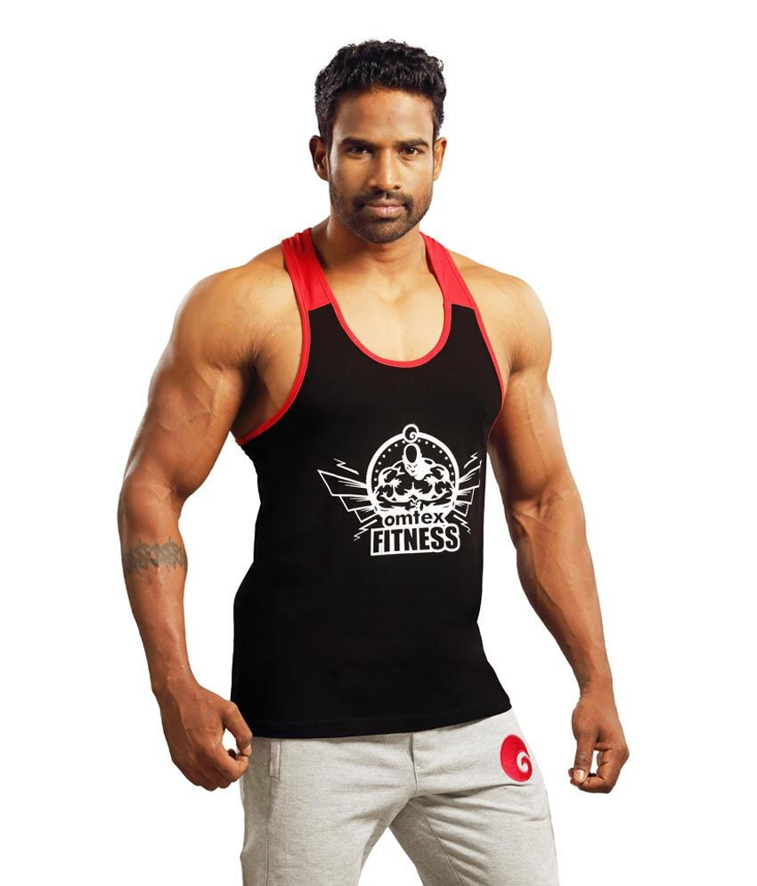 478c775789349d Omtex Black Cotton Gym Stringer  Buy Online at Best Price on Snapdeal