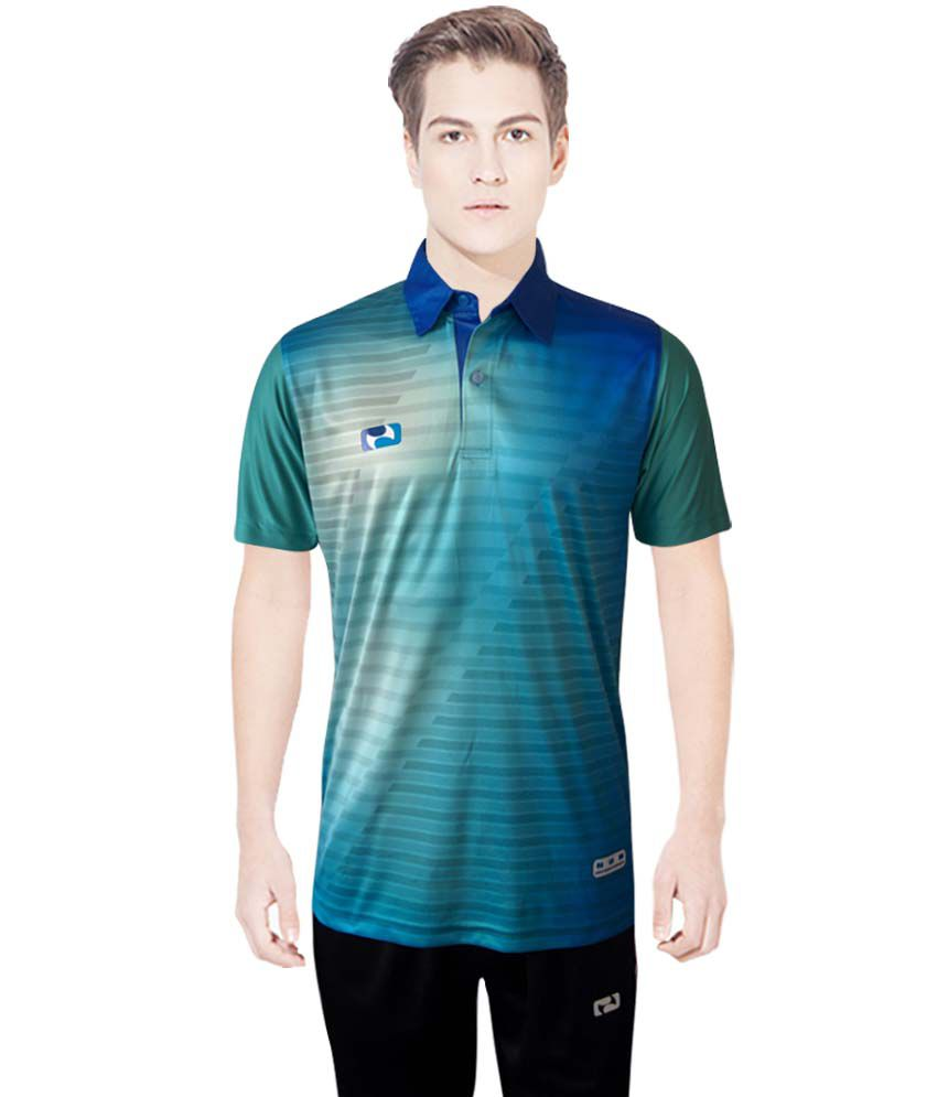 NBS Blue And Green Polyester Sports Jersey For Men