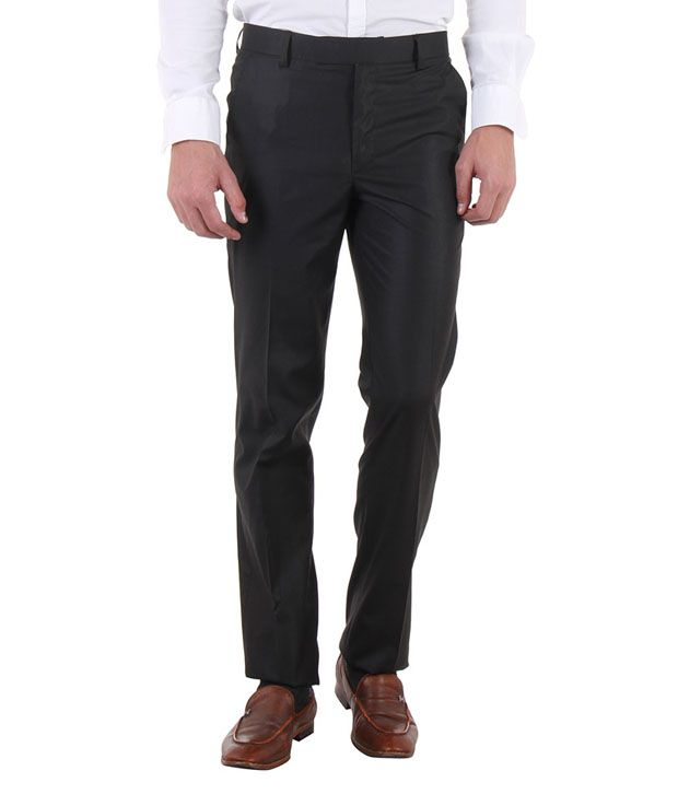 Routeen Black Slim Fit Flat Trousers