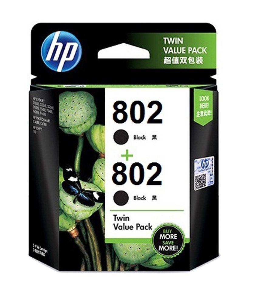 HP 802 Ink Cartridge Twin Pack - Black