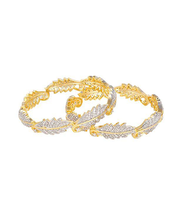 Zeneme American Diamond Gold Plated Leaf Bangles