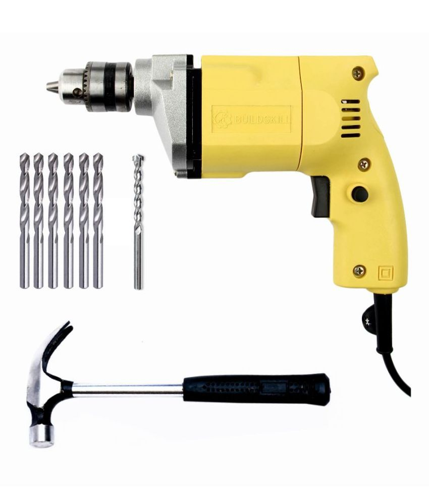 Buildskill 10mm Drill Machine With 6 HSS, 1 Masonry Drill Bits And Hammer Combo Set