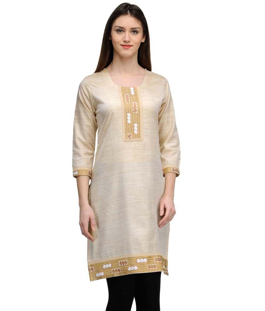 Gaami Brown Cotton Silk Straight Kurti
