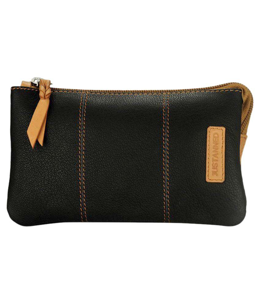 Justanned Black Leather Wallet for Women