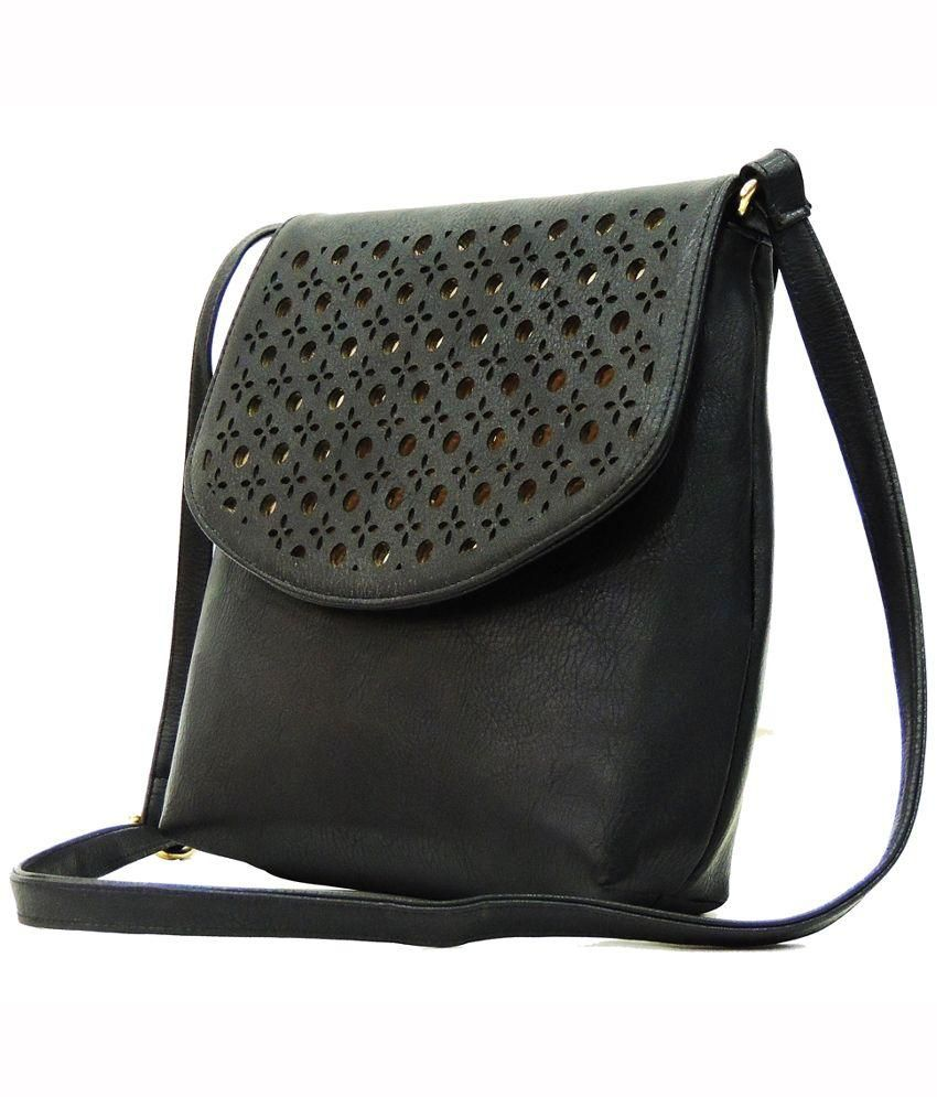 Madame Exclusive Black Faux Leather Sling Bag - Buy Madame ...