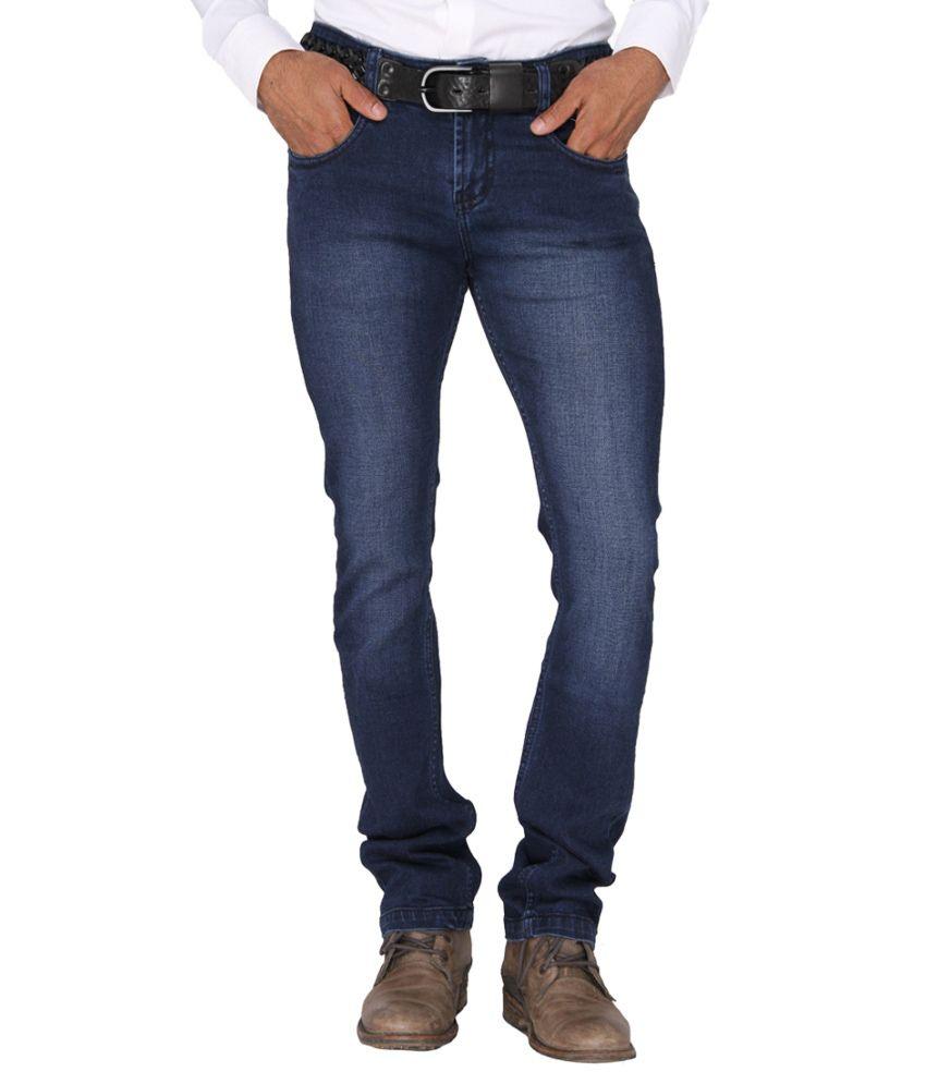 Mode De Base Italie Blue Skinny Fit Solid Jeans