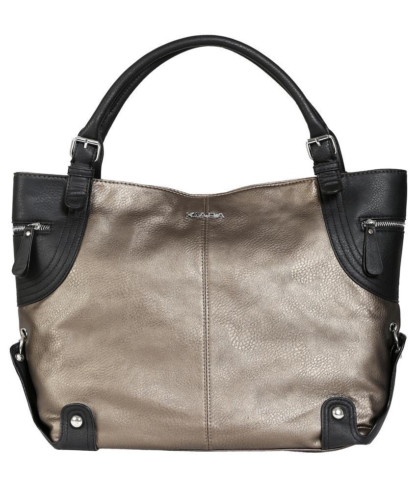 Kiara Gold Synthetic Shoulder Bag