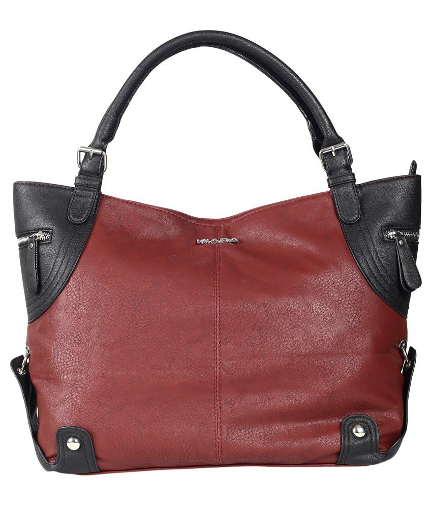 Kiara Maroon Synthetic Shoulder Bag