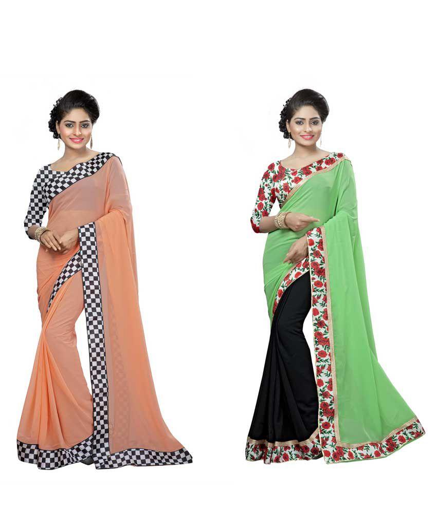 Nakshi Ethnic Multicoloured Georgette Saree Combos