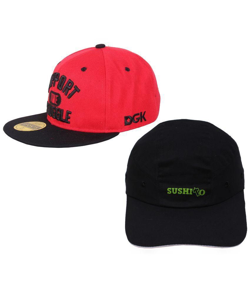 Jstarmart Black and Red Baseball Cap - Pack of 2