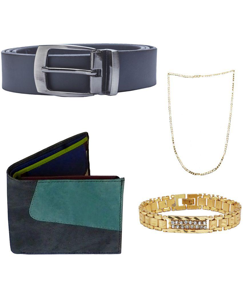 Sondagar Arts Multicolour Leather Single Belt for Men with Wallet, Bracelet and Chain