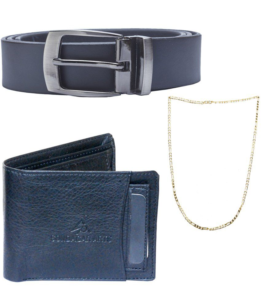 Sondagar Arts Multicolour Leather Single Belt for Men with Wallet and Chain