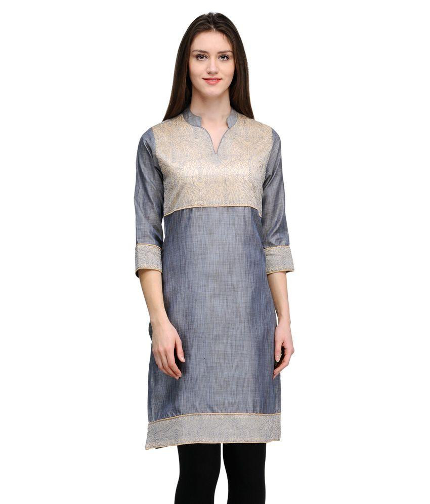 Gaami Grey Art Silk Straight Kurti