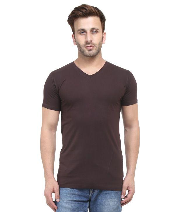 Acomharc Inc Brown Cotton Half Sleeves V-Neck T-shirt