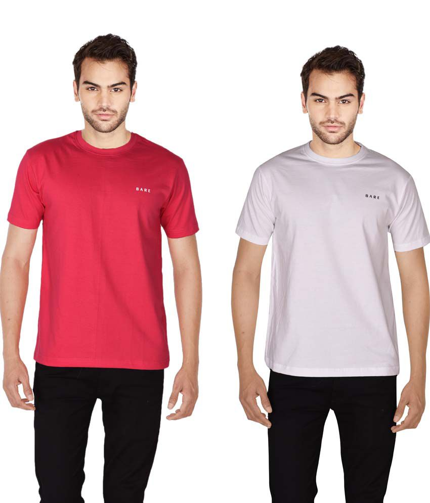 Bare White Round T Shirts With Pink T-Shirt