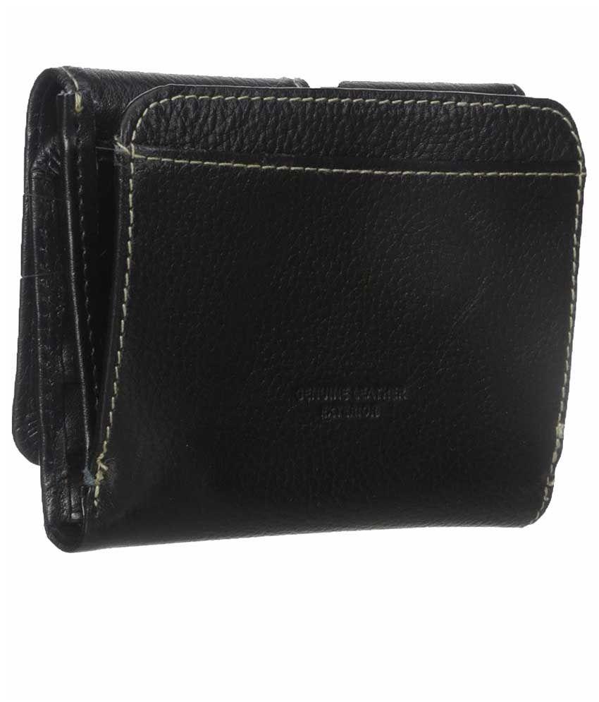 Buxton Black Leather Regular Wallet for Women