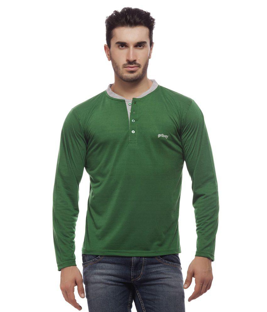 Grovey Green Henley T Shirts