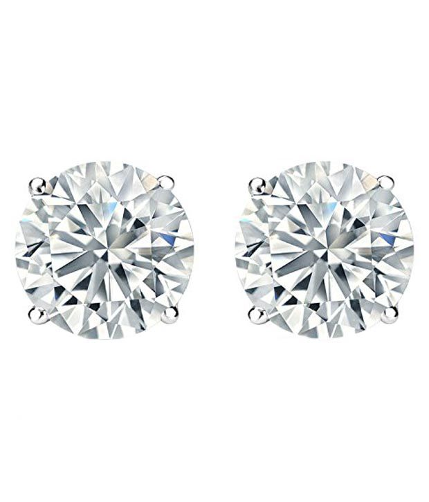 Kataria Jewellers Single Solitaire American Diamond 92.5 BIS Hallmarked Silver Earrings