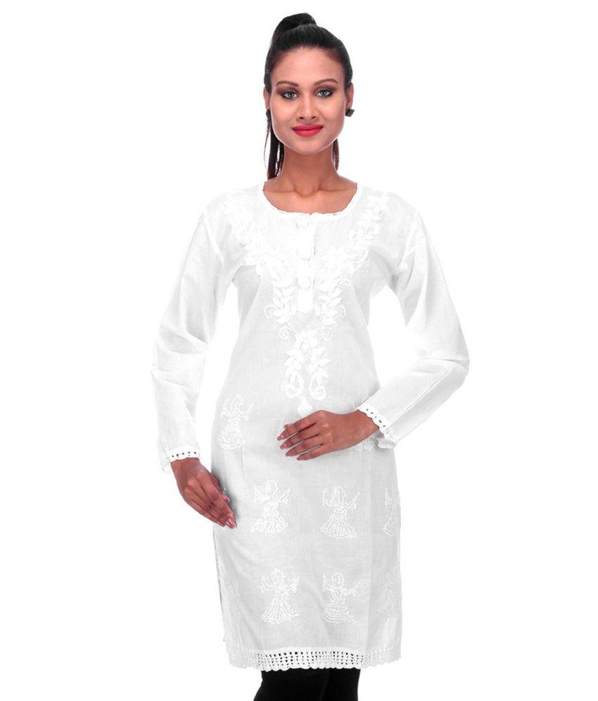Fabrica International White Cotton Straight Kurti