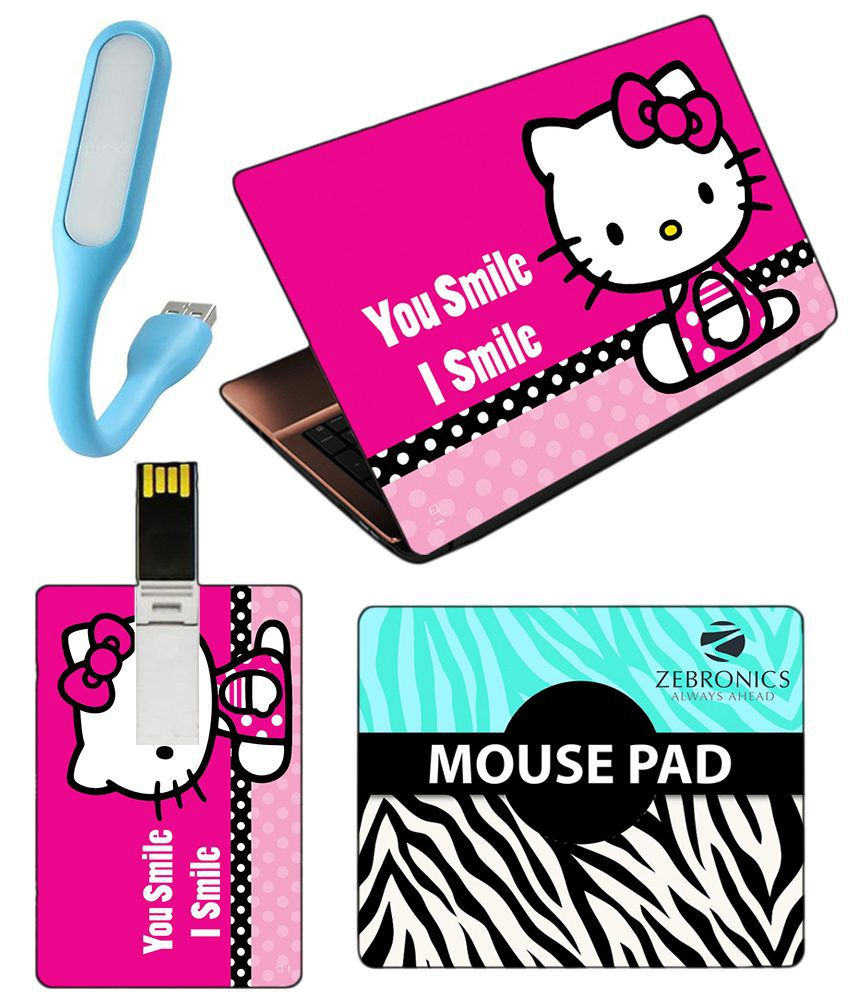 126b4b761 Indiashopers 4 in 1 Combo of Hello Kitty Smile Multicolor Laptop Skin,  Mouse Pad, USB LED Light and 8GB Card Pendrive - Buy Indiashopers 4 in 1  Combo of ...
