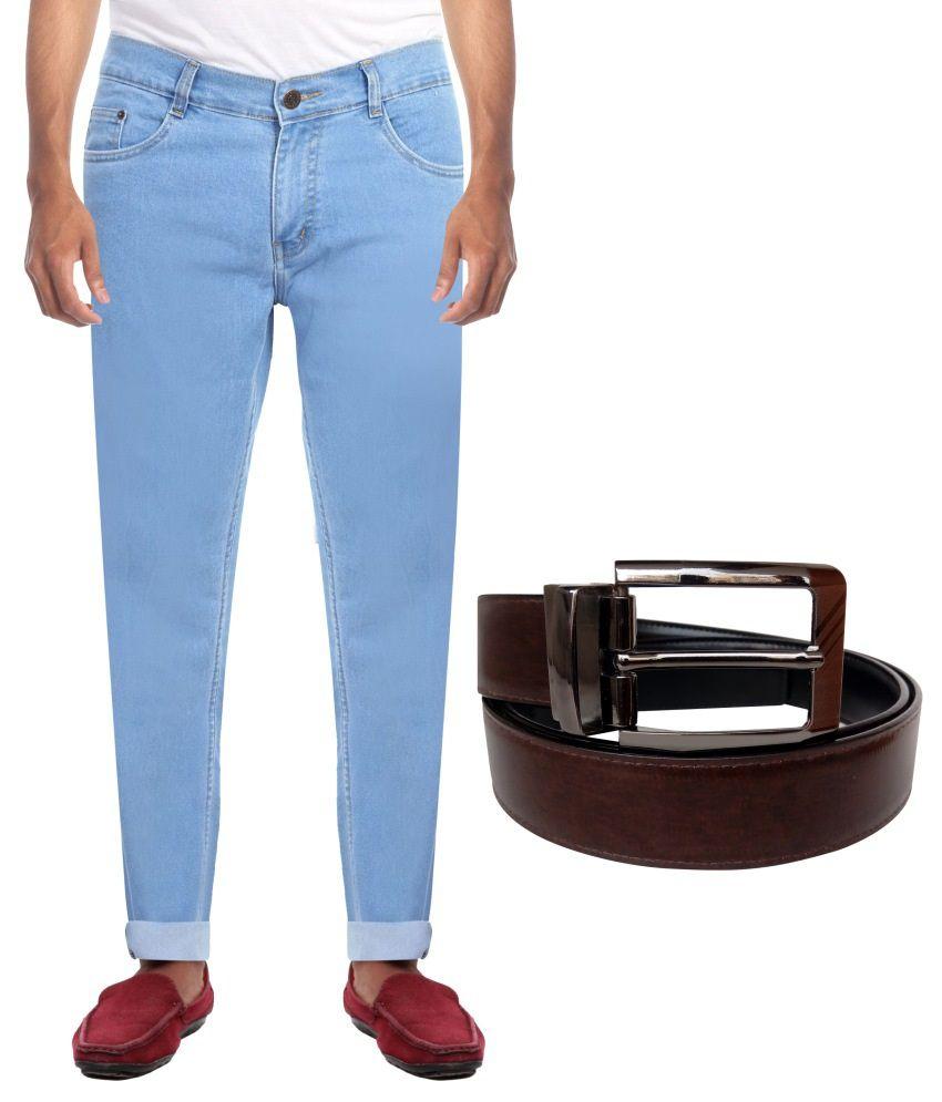 haltung Blue Slim Fit Solid Jeans jeans with belt