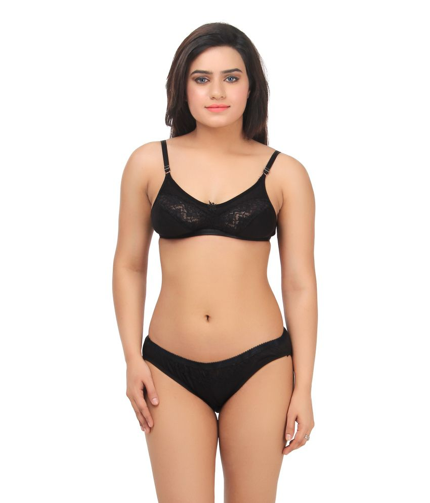 808ab13a6d70 Buy Gujarish Black Velvette Bra & Panty Sets Online at Best Prices in India  - Snapdeal