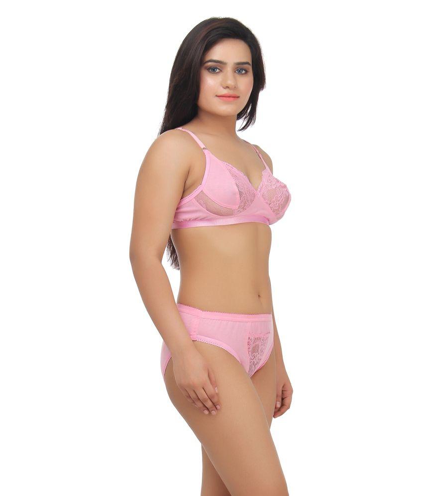5a527ed1c077d Buy Gujarish Pink Velvette Bra   Panty Sets Online at Best Prices in ...