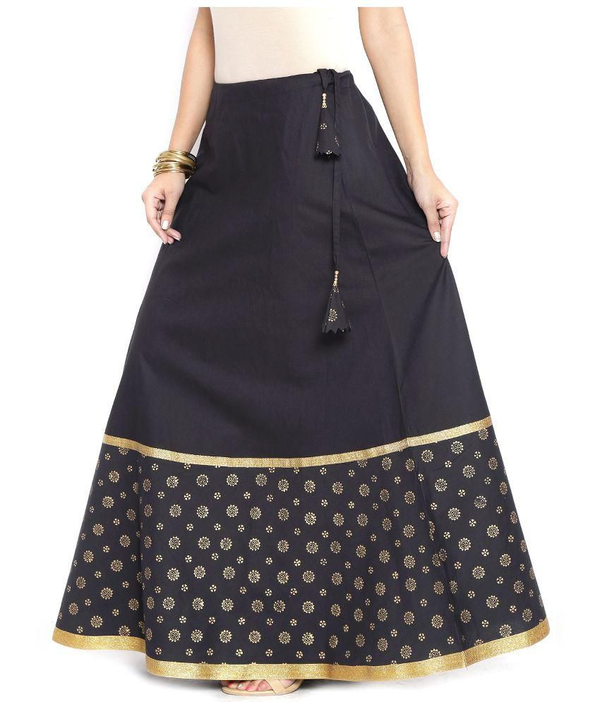 Buy 9Rasa Black Cotton A-Line Skirt Online at Best Prices in India ...