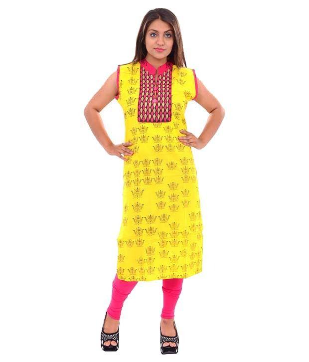 Lavanya Fashion Yellow Cotton Straight Kurti