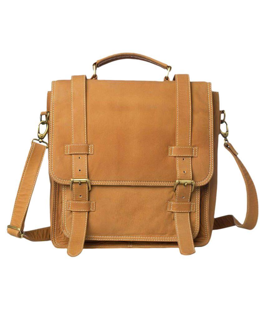 Romari Tan Leather Laptop Bag