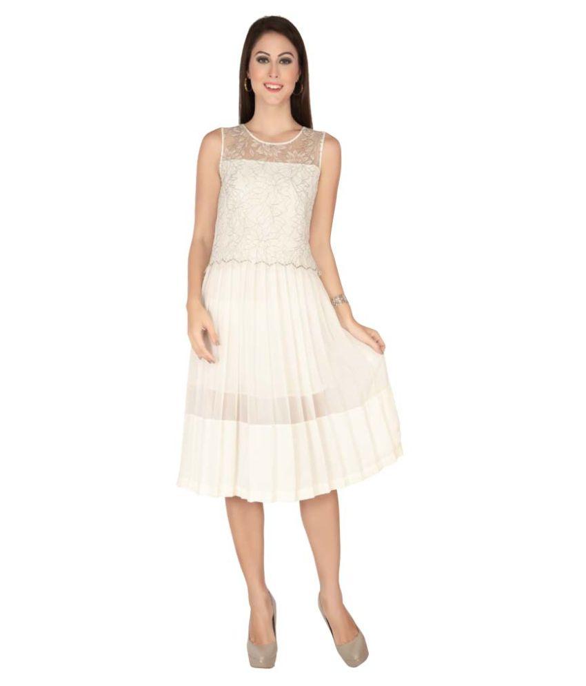 Soie Off White Georgette Dresses