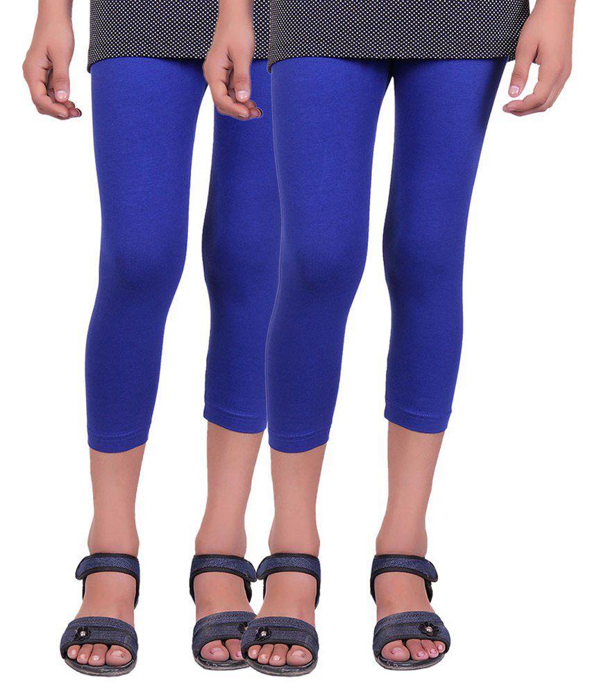 Alisha Blue Cotton Lycra Capri for Girls - Pack of 2
