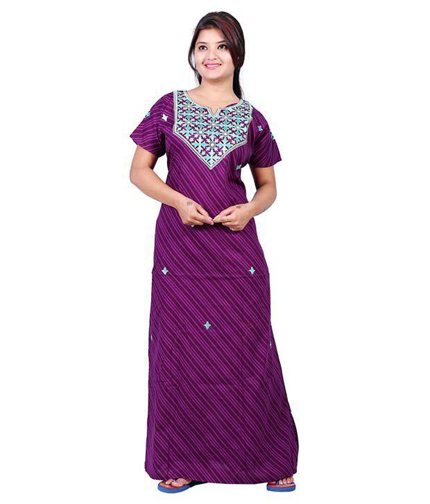 Mahaarani Purple Cotton Nighty