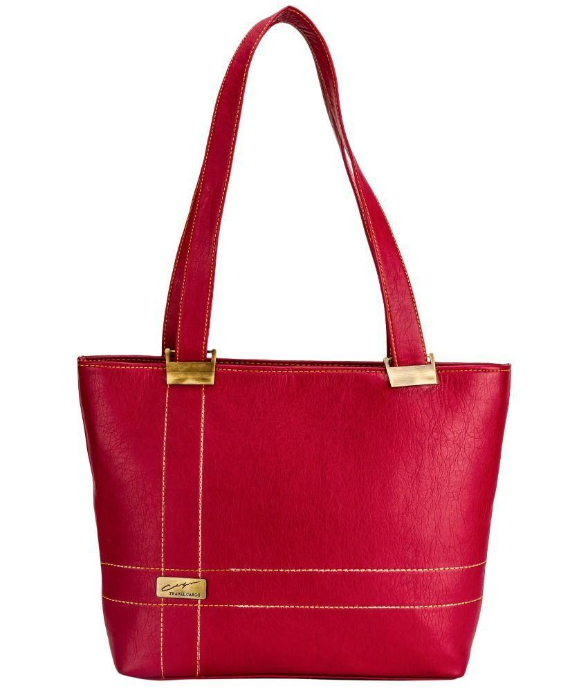 Style Zone Red Faux Leather Tote Bag