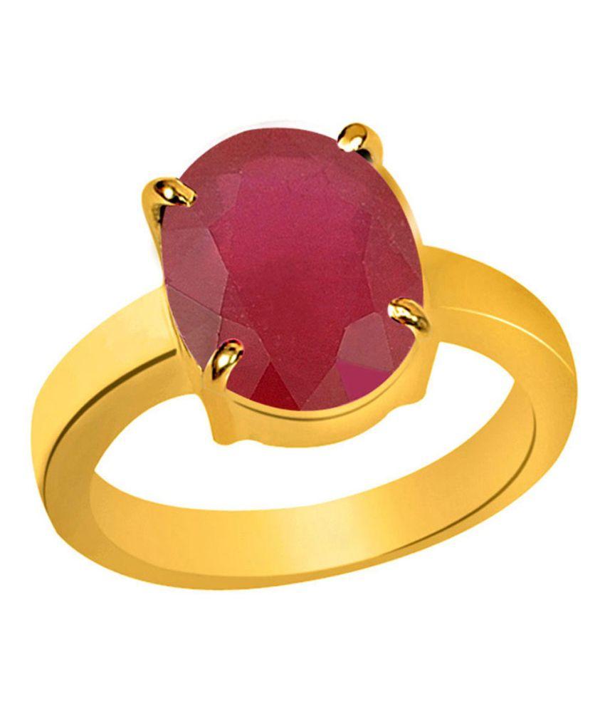 Clara Ruby Manik 5.5 Carat (6.25 Ratti) Panchdhatu Gold Plated Astrological Ring For Men & Women