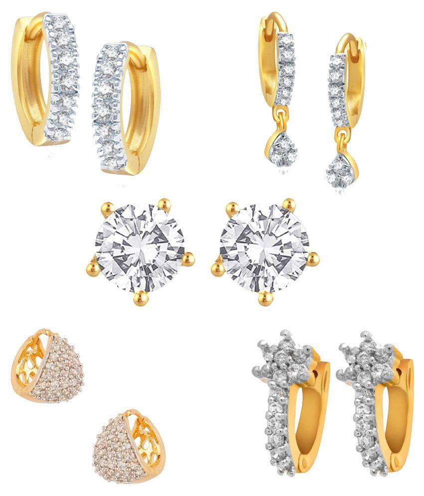 Renaissance Traders Golden American Diamond Designer Earrings - Pack Of 5