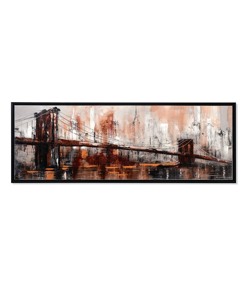 Nilkamal Brown City life Canvas Painting